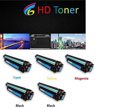 Cheap HD Toner © 5-Pack CE260A (2 black), CE261A (1 cyan), CE262A (1 yellow), CE263A (1 Magenta) Color Toner Set for HP Color LaserJet Enterprise CP 4025 CP 4525 for cheap