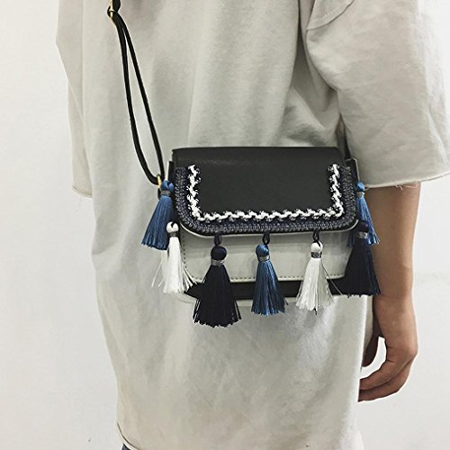 Crossbody Black Handbag Bag Retro Tassel Women Shoulder Voberry Bag Girls ZBqpxOv