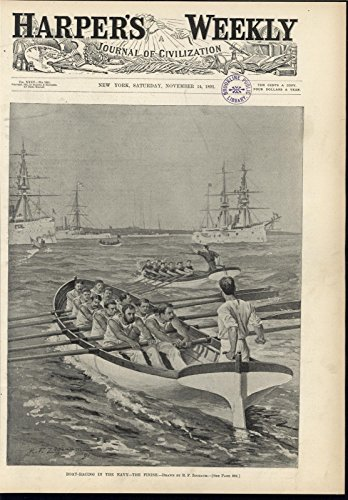 Racing Sprint Boat (Boat Racing Navy Ships US Sailors Rowing Final Sprint Battleships 1891)