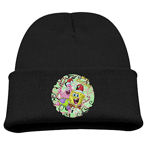 Spongebob Christmas Happy Children Stretchy Black Kint Slouchy Hat Beanies Cap