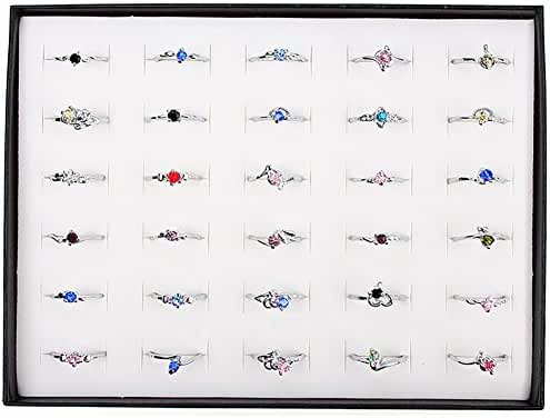 Woman Wholesale Lots 30pcs Rhinestone Assorted Silver Plated Ring