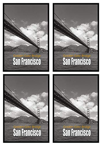 (Frametory Set of 4, 27x40 Inch Black Poster Frame, Wall Mounting, Landscape/Portrait, Home/Office (27 x 40)