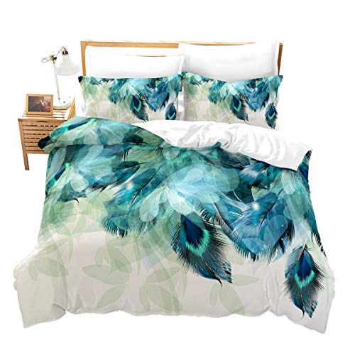 Erosebridal Peacock Decor Duvet Cover Set Kids Twin Cute Animal Theme Bedding Set Print for Adult Teen Boys and Girls Decorative Bedding Animal Soft Comforter/Quilt Cover Peacock Feathers Bed Cover F