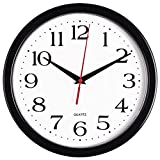 #8: Bernhard Products - Black Wall Clock, Silent Non Ticking Quality Quartz Battery Operated 10 Inch Round Easy to Read Home/Office/School Clock