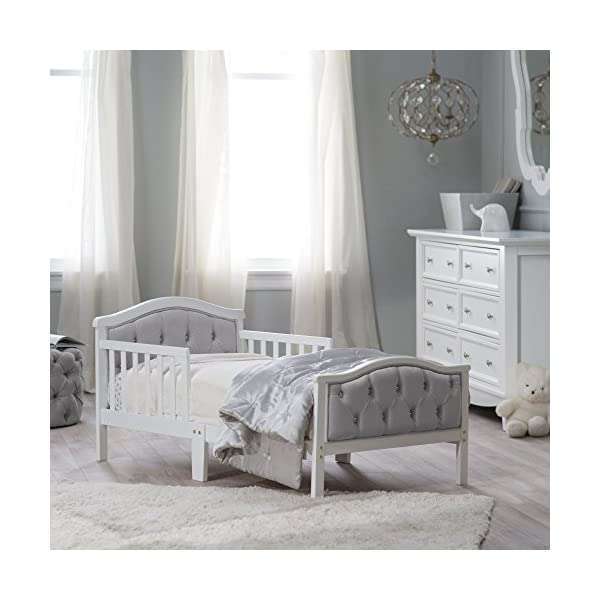 Toddler Bed with Soft Tufted Headboard, Kids Wood Bed Frame with Half Side Rails 2