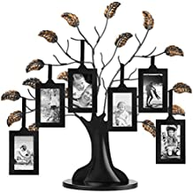 """Bronze Family Tree Frame with 6 Hanging Picture Frames Each Sized 2"""" x 3"""" with Adjustable Ribbon Tassels"""