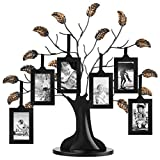 Americanflat Bronze Family Tree Frame with 6 Hanging Picture Frames Each Sized 2''x3'' with Adjustable Ribbon Tassels