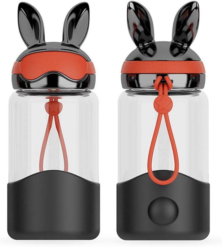Cute Rabbit Glass Water Bottle Girl Bunny Travel Mug Portable Juice Cup 12OZ