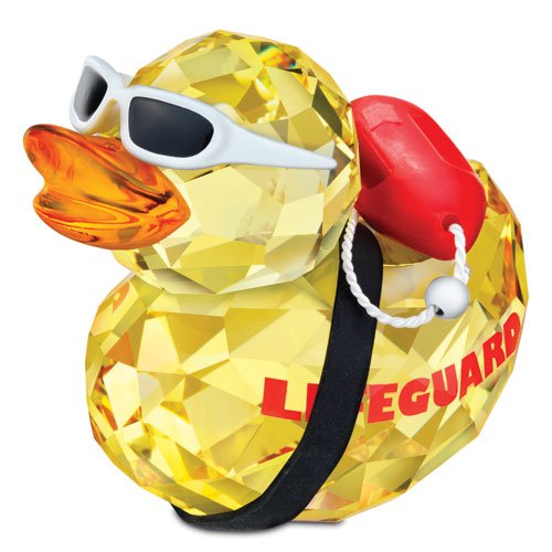 Swarovski Crystal Happy Duck Figurine - Life Saver Crystal Duck Figurine