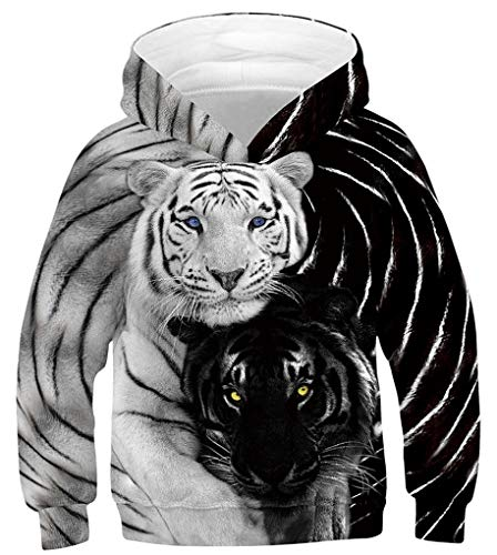 GLUDEAR Teen Boys Girls Novelty Animal Galaxy Hoodies Sweatshirts Pullover 4-16Y,Black White Tiger