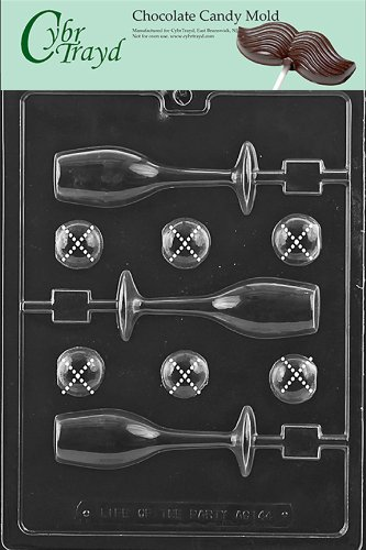 Cybrtrayd Life of the Party AO144 Champagne Glass Lolly All Occasions Chocolate Candy Mold in Sealed Protective Poly Bag Imprinted with Copyrighted Cybrtrayd Molding Instructions ()