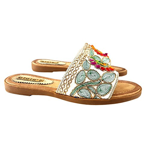 shoes Sandalo Bianco Decorato kiara PC17904 Flat Multicolore qzdqg5