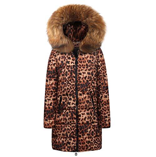 AOJIAN Women Jacket Long Sleeve Outwear Hooded Leopard Print Parka Down Overcoat Sweaters Cardigan ()