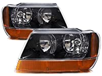 Jeep Grand Cherokee Laredo New Black Headlights Set w/Amber Signal Lights