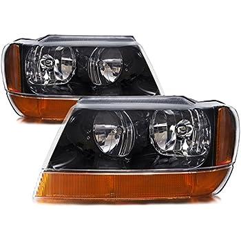 Jeep Grand Cherokee Laredo New Black Headlights Set w/Amber Signal Lights