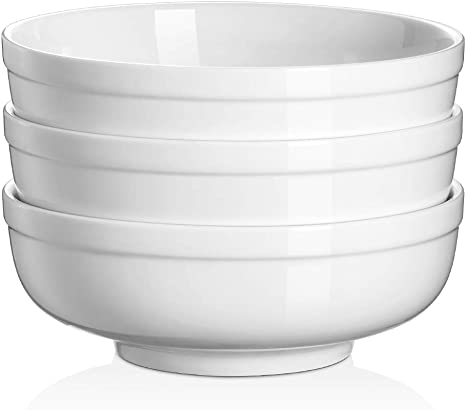 Dowan Soup Bowls For Kitchen 32 Oz White Bowls For Cereal Salad Ramen Noodle Porcelain Bowls With Non Slip Design Sturdy And Easy To Hold Set Of 3 7 25 Inch Soup Bowls