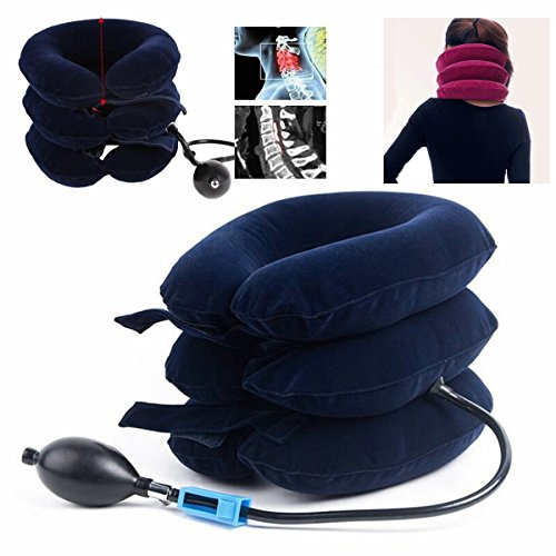 Air Inflatable Pillow Cervical Neck Headache Pain Traction Support Brace Device Blue by Essort (Image #2)