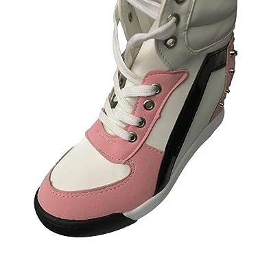 044c2b2dab Damen Keilabsatz Sneakers Turnschuhe Sportschuhe Freizeit Schuhe mit Erhöht  Einlegesohle Frauen Wedges Schnürschuhe Sneakers Schuhe Größe