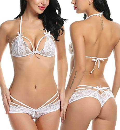 8afde3b10eb Galleon - Avidlove Women s Lingerie Lace Bra And Panty Babydoll Bodysuit  Sets White XXL