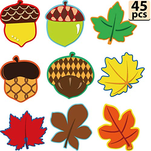 45 Pieces Colorful Maple Leaves and Acorns Cut-Outs Versatile Classroom Decoration with Glue Point Dots for Thanksgiving Bulletin Board Classroom School Fall Theme Party, 5.9 x 5.9 Inch