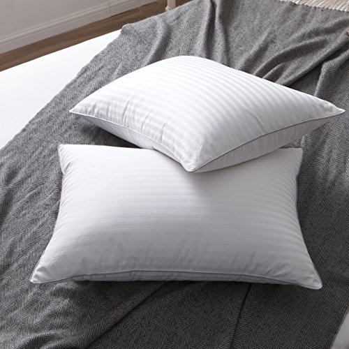 L LOVSOUL Set of 2 White Goose Down and Feather Bed Pillows - Triple Chambers Design, 1000TC 100% Egyptian Cotton Fabric Standard/Queen Size, Soft - Down Pillow Best