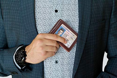 SERMAN BRANDS RFID Blocking Slim Bifold Genuine Leather Minimalist Front Pocket Wallets for Men with Money Clip Thin… 2