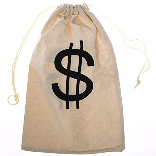 (Large Drawstring Canvas Storage Bag, Dollar Sign Pouch with Closure | Multifunctional Container)