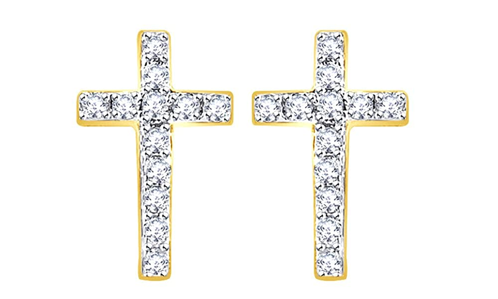 White Cubic Zirconia Classic Cross Stud Earrings In 14K Gold Over Sterling Silver