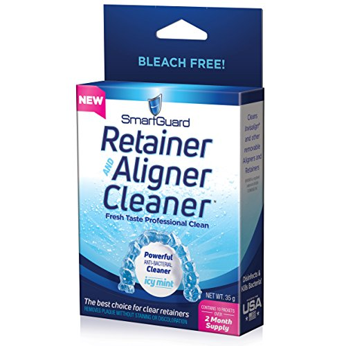 SmartGuard Retainer Aligner Cleaner 70 DAY PACK: Invisalign Cleanser for Brite OAP Clear Correct Removable Orthodontic Braces & Dental tooth for plastic Oral Appliances & Teeth Whitener Trays - Oral Cleaning System