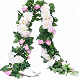 PARTY JOY 6.5Ft Artificial Rose Vine Silk Flower Garland Hanging Baskets Plants Home Outdoor Wedding Arch Garden Wall Decor,Pack of 2 (White&Pink)
