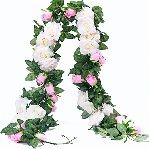 Mothers Day Centerpieces - PARTY JOY 6.5Ft Artificial Rose Vine Silk Flower Garland Hanging Baskets Plants Home Outdoor Wedding Arch Garden Wall Decor,Pack of 2 (White&Pink)