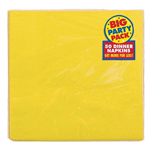 Amscan Dinner Paper Napkins Party Supply, 50 Pieces, Made from Paper, Yellow Sunshine by Banquet Serving Cart