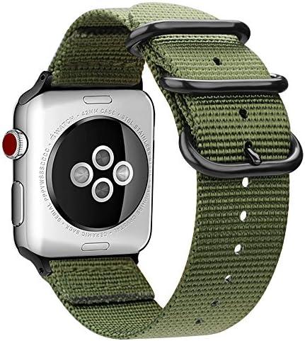 [해외]For Apple Watch 악대 Fintie로 뜨는 나일론 시계 줄 교환 벨트 애플 시계 교환 스트랩 iWatch Apple Watch Series 5 Series 4 44mm Series 3Series 2Series 1 42mm (아미 그린) / For Apple Watch Band Fintie Knitting Nylon Watch Band Replaceme...