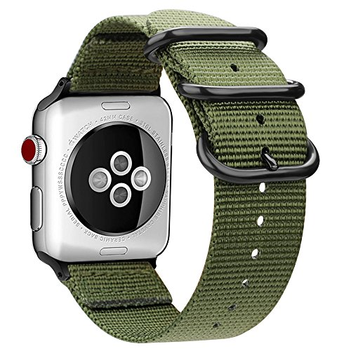 Fintie Band for Apple Watch 44mm 42mm, Lightweight Breathable Woven Nylon Sport Loop Wrist Strap with Metal Buckle Compatible with Apple Watch Series 4 Series 3 Series 2 Series 1 - Olive