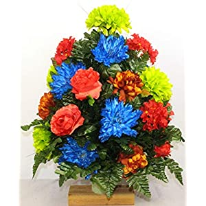 Beautiful XL Artificial Spring Mixture Cemetery Flower Headstone 3-Inch Vase Grave Decoration 2