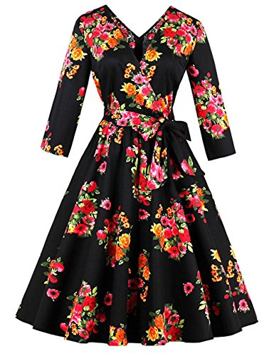MuchXi Women Vintage 1950s Retro Rockabilly Prom Dresses Floral Long Sleeve BlackM
