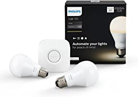 PHILIPS Hue White A19 Starter Kit (Compatible with Amazon Alexa, Apple Home Kit and Google Assistant)