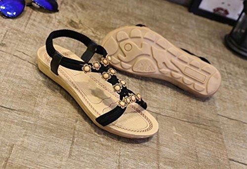 Yiiquan Mujer Sandalias Bohemia Con Cuentas Zapatillas T-Strap Sandalias De Playa Estilo2 Negro