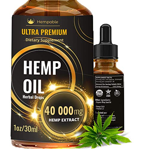 Hemp Oil Drops 40 000 mg, Co2 Extracted, Made in USA, Help Reduce Stress, Anxiety and Pain, 100% Natural Ingredients, Vegan Friendly, GMO Free