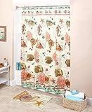 Fish Shower Curtains Bath Accessory Sets 18 Pcs. Bathroom Decor Set Seaside Collection Fish Shells Beach Sea Great Gift