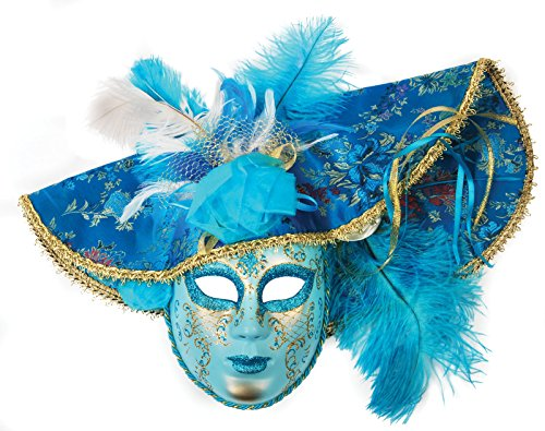 Loftus International Feather Hat Full Face Masquerade Venetian Mask, Light Blue, One Size