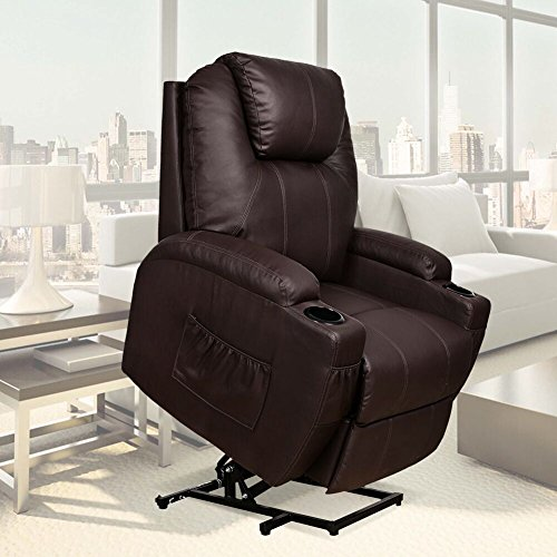 U-MAX Recliner Power Lift Chair Wall Hugger PU Leather with Remote Control (Brown) (Recliner Electric Leather)