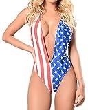 Cfanny Women's V Neck Backless American Flag Print Tank Thong Bodysuit,L
