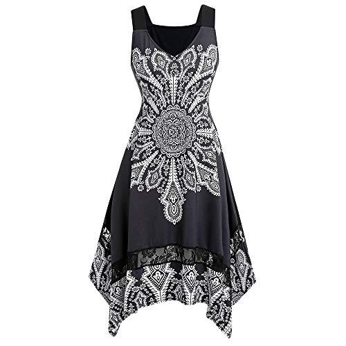 Missroo Size Knee Length Printed Dress Black