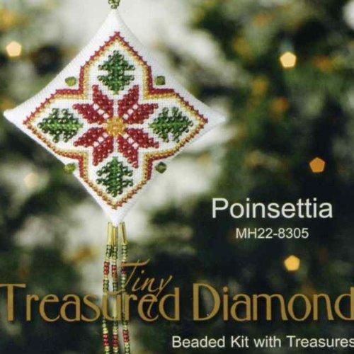 Poinsettia Tiny Treasured Diamond Beaded Ornament Kit Mill Hill 2008