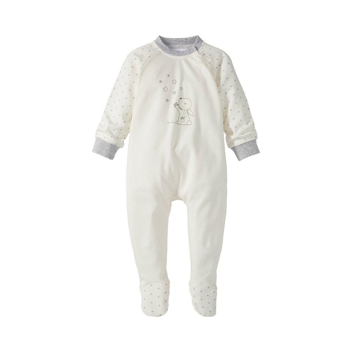 Baby-Pyjama mit Tier-Print /& seitlichem Rei/ßverschluss Bornino Schlafoverall Hase wollwei/ß//Sterne Allover Strampler aus Reiner Baumwolle