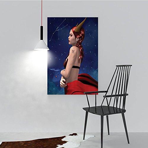 Philip C. Williams Modern Wall Art Decor Frameless Taurus Girl with Horns Maleficent Zodiac Stars Venus auty for Home Print Decor for Living Room W16 x H24 for $<!--$19.99-->
