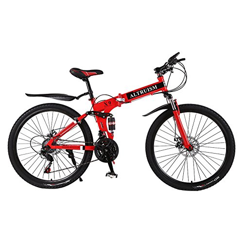 Altruism Mountain Bike 21 speed Bicycle Downhill Bikes (X9 f steel red) Review