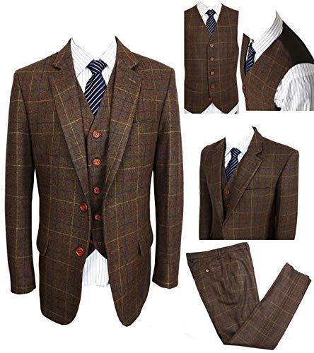Brown Blazer Wool - Classic Vintage Brown Tweed Herringbone Wool Blend Men Suit Check Plaid Dark Green Striped Blazer Jacket