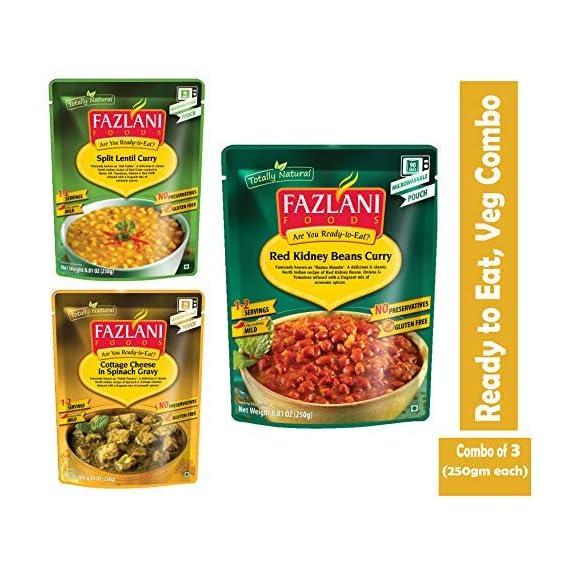 FAZLANI FOODS Ready to Eat Veg Combo of Dal Tadka, Palak Paneer & Rajma Masala -Pack of 3, 250gm Each